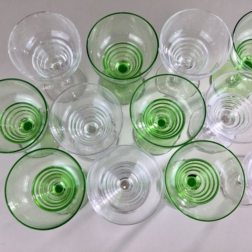 Mixed set of Art Deco small cocktail glasses