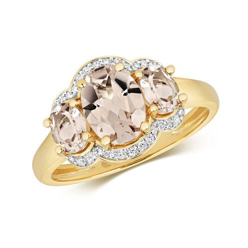 Diamond & Morganite Trilogy  Ring