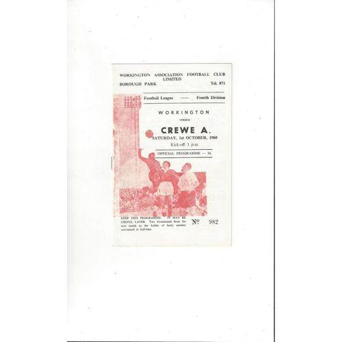 1960/61 Workington v Crewe Alexandra Football Programme