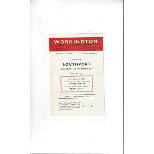 1962/63 Workington v Southport Football Programme