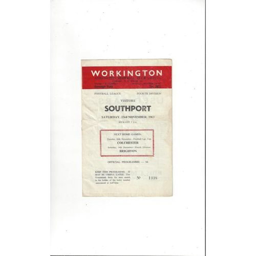 1963/64 Workington v Southport Football Programme
