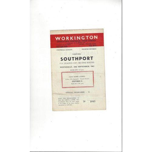 1963/64 Workington v Southport League Cup Football Programme