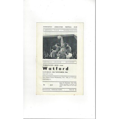 1966/67 Workington v Watford Football Programme