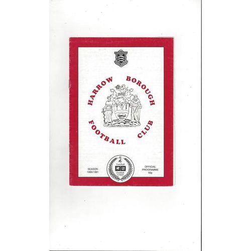 Harrow Borough v Wycombe Wanderers Friendly Football Programme 1991/92