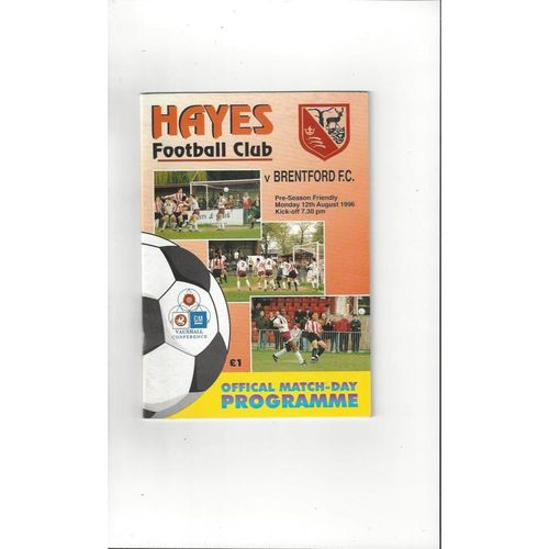 Hayes v Brentford Friendly Football Programme 1996/97
