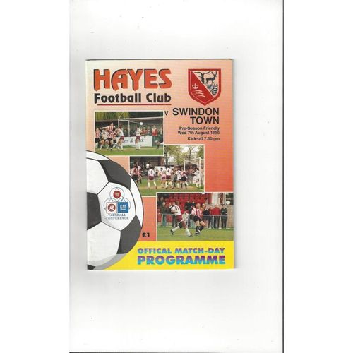 Hayes v Swindon Town Friendly Football Programme 1996/97
