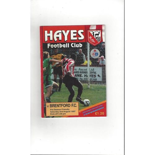 Hayes v Brentford Friendly Football Programme 1997/98
