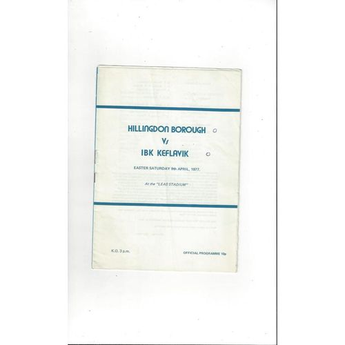 Hillingdon Borough v Keflavik Friendly Football Programme 1976/77