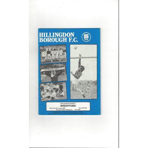 Hillingdon Borough v Brentford Friendly Football Programme 1981/82