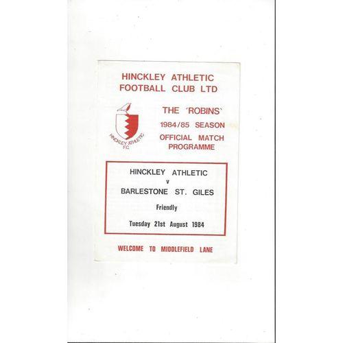 Hinckley Athletic v Balestone St. Giles Friendly Football Programme 1984/85