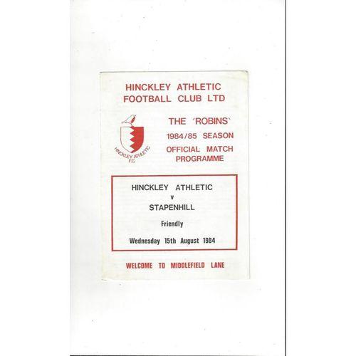 Hinckley Athletic v Stapenhill Friendly Football Programme 1984/85