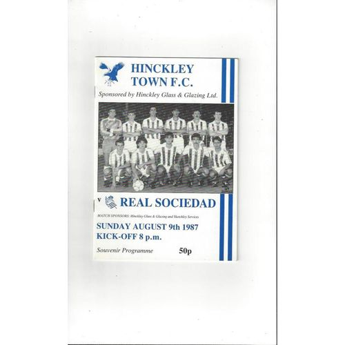 Hinckley Town v Real Sociedad Friendly Football Programme 1987/88