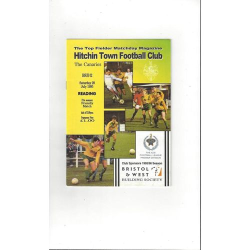 1995/96 Hitchin Town v Reading Friendly Football Programme