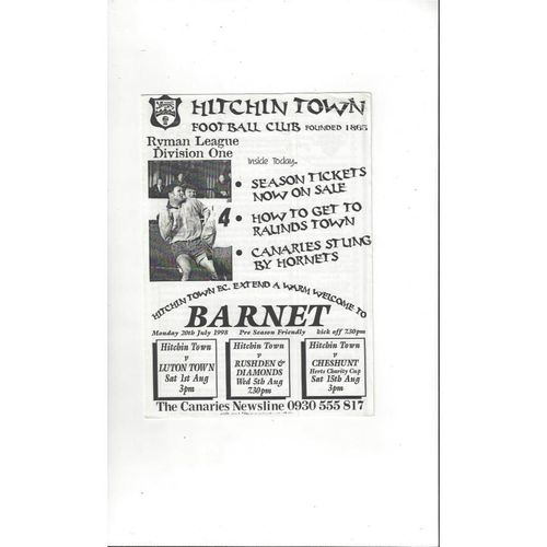Hitchin Town v Barnet Friendly Football Programme 1998/99