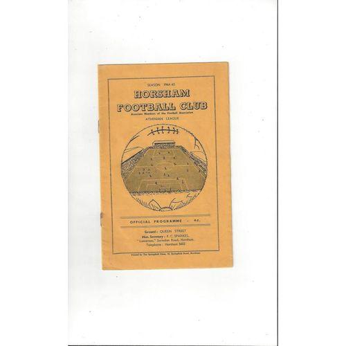Horsham v Redhill Friendly Football Programme 1964/65
