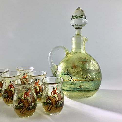 Tally Ho! Decanter flask and tot glasses Circa 1910