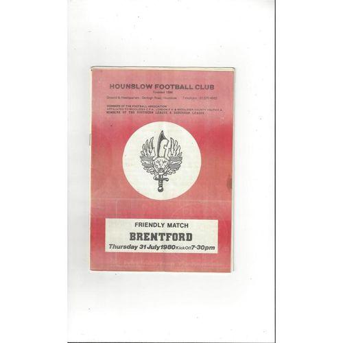 Hounslow v Brentford Friendly Programme 1980/81