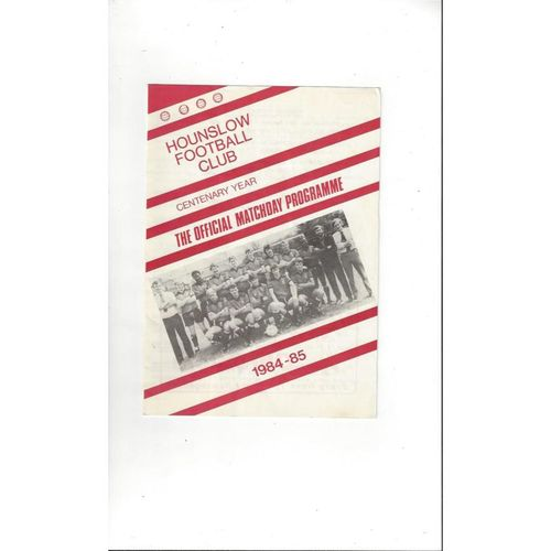 Hounslow v Ex Brentford Friendly Programme 1984/85