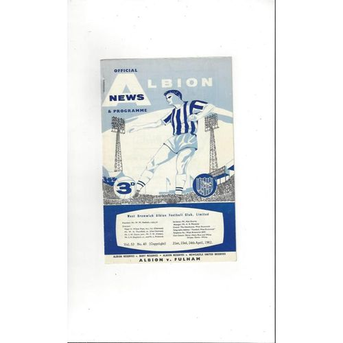1961/62 West Bromwich Albion v Fulham Football Programme