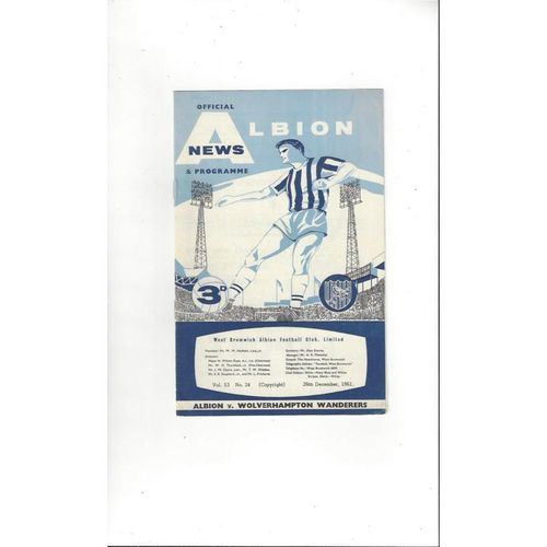 1961/62 West Bromwich Albion v Wolves Football Programme