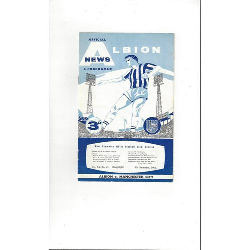 1962/63 West Bromwich Albion v Manchester City Football Programme