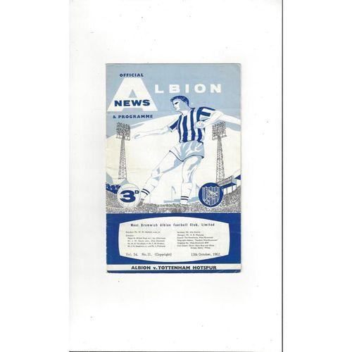 1962/63 West Bromwich Albion v Tottenham Hotspur Football Programme