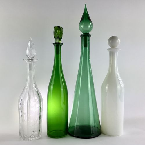 Tall green cased glass bottle decanter and stopper 19th Century
