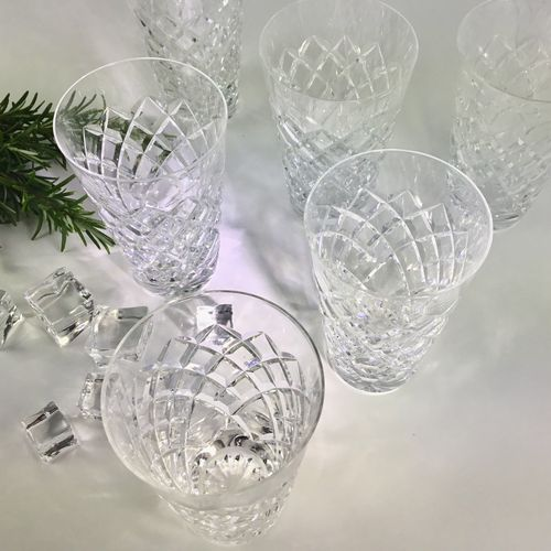 Six crystal whiskey tumblers by Val Saint Lambert