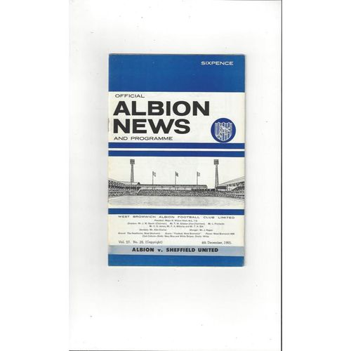 West Bromwich Albion Home Football Programmes