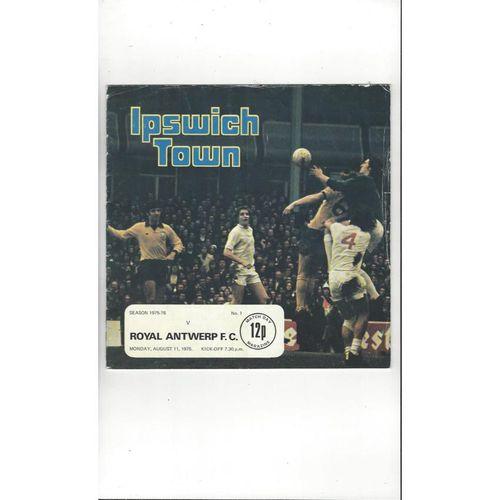 Ipswich Town v Antwerp Friendly Football Programme 1975/76