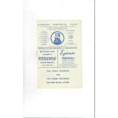 Isthmian League v Royal Navy Friendly Football Programme 1964/65 @ Barking