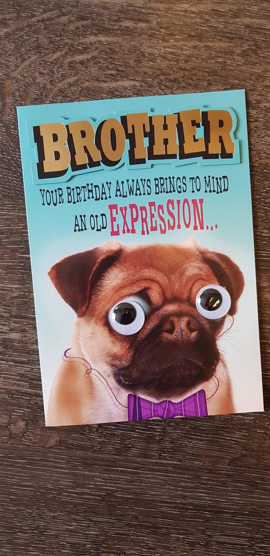 Brother Birthday Pug Dog Card