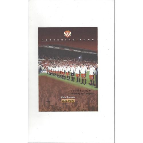 Kettering Town v Derby County Friendly Football Programme 2000/01