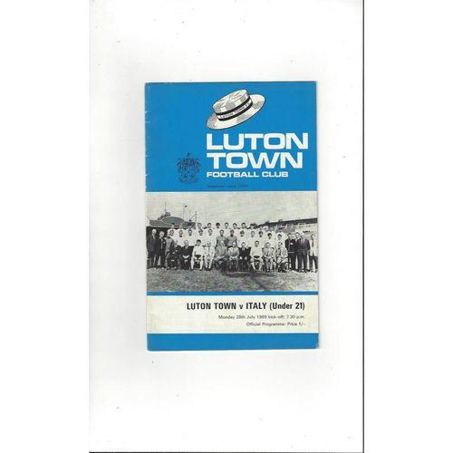 Luton Town v Italy U21 Friendly Football Programme 1969/70