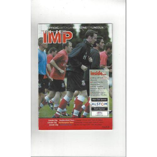 Lincoln City v Huddersfield, Northampton & Mansfield Friendly Programme 2002/03