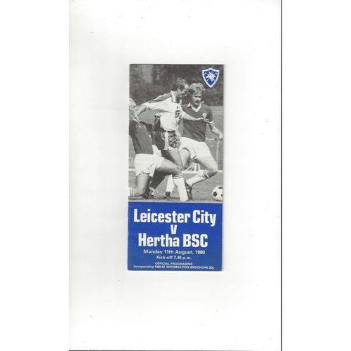 Leicester City v Hertha BSC Friendly Football Programme 1980/81