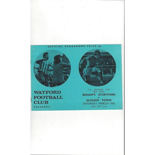 Bishop's Stortford v Slough Town FA Amateur Cup Semi Final Programme 1972/73