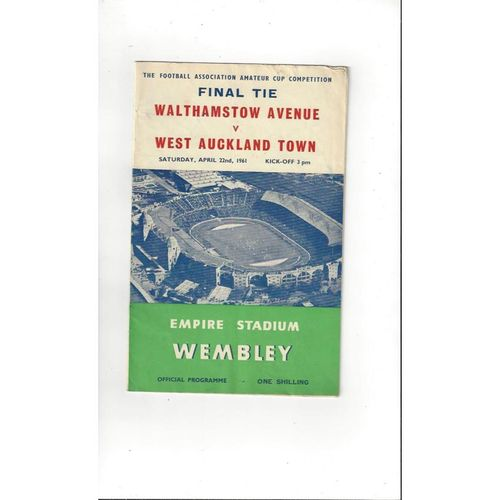 1961 Walthamstow Avenue v West Auckland FA Amateur Cup Final Football Programme