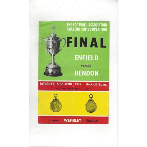 1972 Enfield v Hendon FA Amateur Cup Final Football Programme