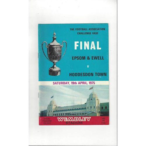 1975 Epsom & Ewell v Hoddesdon Town Vase Final Football Programme