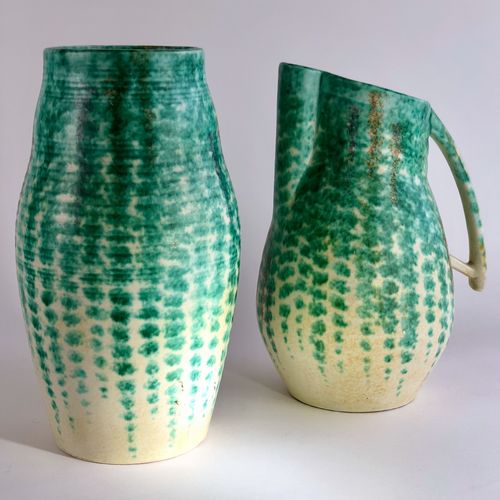 Large Art Deco green and cream pottery vase 1930s