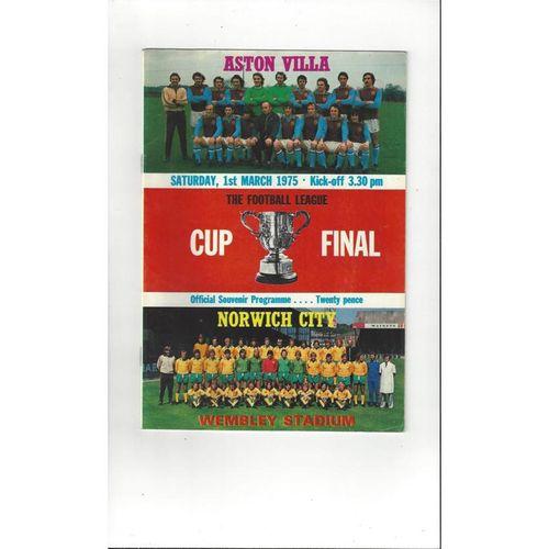 1975 Aston Villa v Norwich City League Cup Final Football Programme