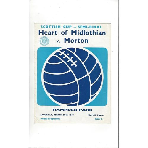 1968 Hearts v Morton Scottish Cup Semi Final Football Programme