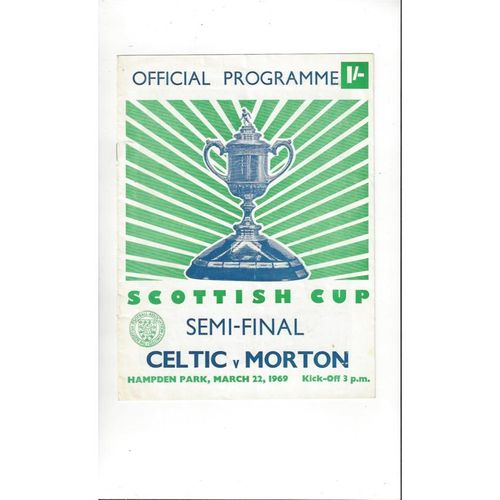 1969 Celtic v Morton Scottish Cup Semi Final Football Programme