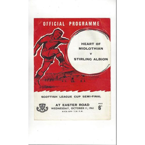 1961/62 Hearts v Stirling Albion Scottish League Cup Semi Final Programme