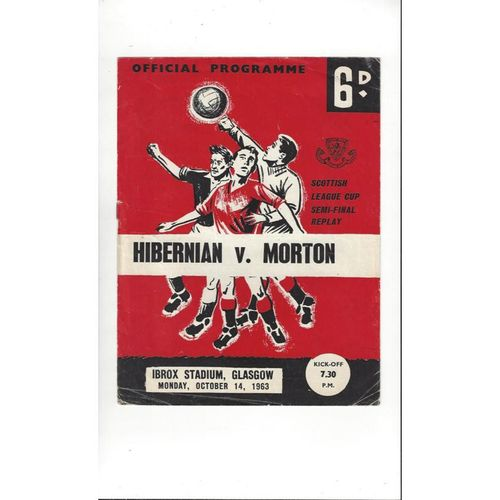 1963/64 Hibernian v Morton Scottish League Cup Semi Final Replay Programme