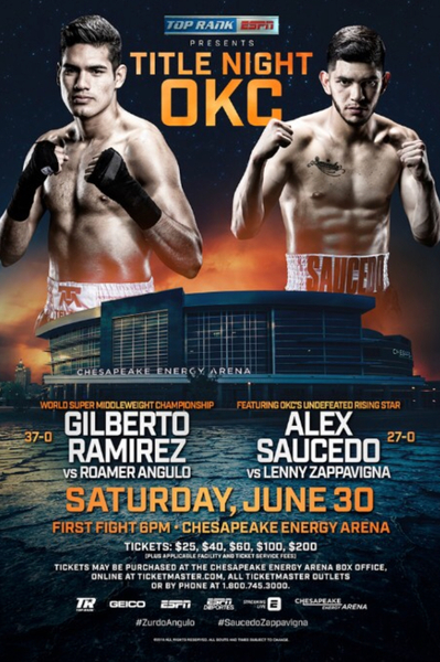 Boxing Thunder in OKC: Gilberto Ramirez Defends Super Middleweight Title and Alex Saucedo Comes Home June 30 in Oklahoma City
