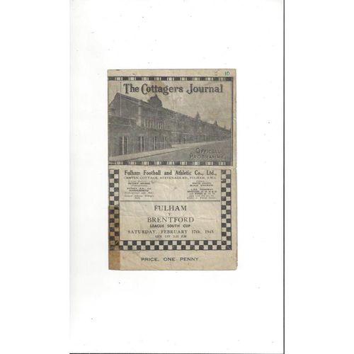 1944/45 Fulham v Brentford League South Cup Football Programme