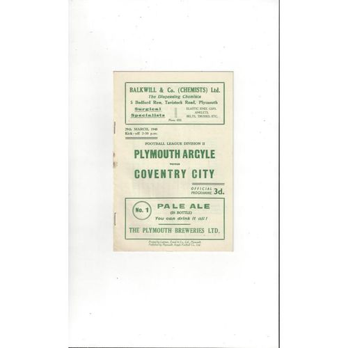 1947/48 Plymouth Argyle v Coventry City Football Programme