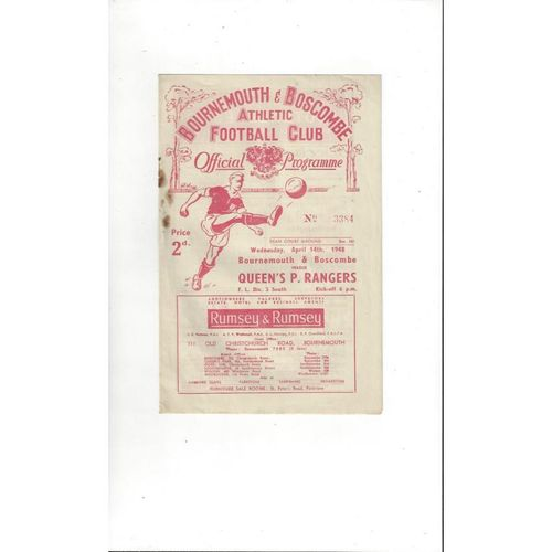 1947/48 Bournemouth v Queens Park Rangers Football Programme